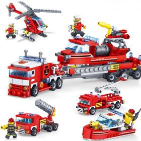 4 in 1 Feuerlöschfahrzeug - Auto, Hubschrauber und Boot