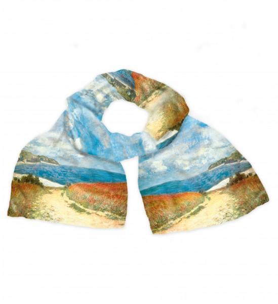 """Claude Monet: Seidenschal """"Strandweg zwischen Weizenfeldern nach Pourville"""""""