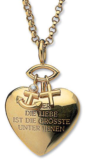 """Christiane Wendt: Herz-Anhänger """"Glaube, Liebe, Hoffnung"""" mit Kette"""