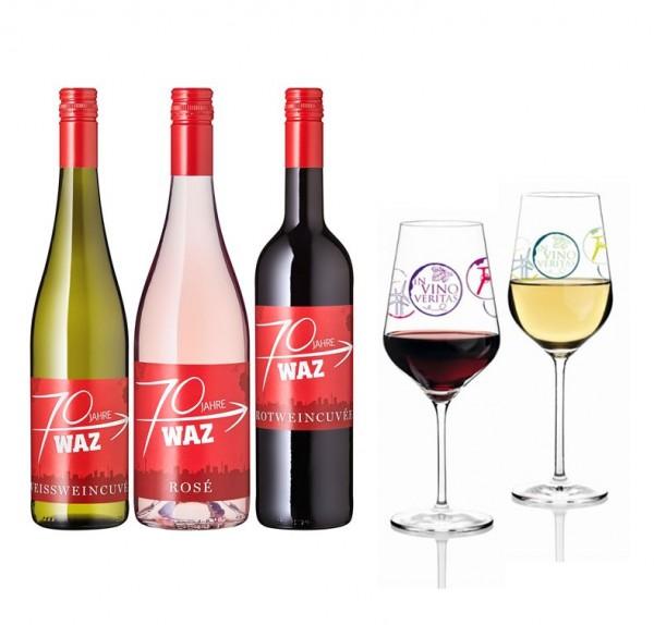 WAZ Weinpaket mit Gläsern