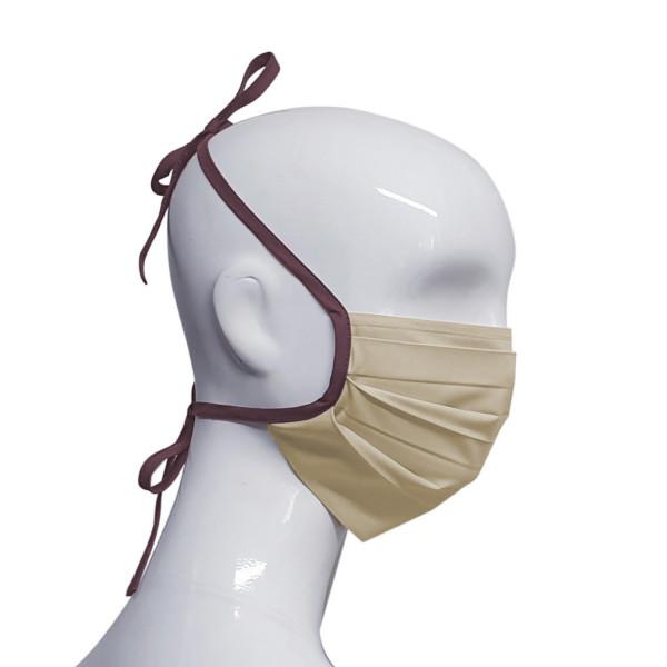 Baumwollmaske beige/bordeaux