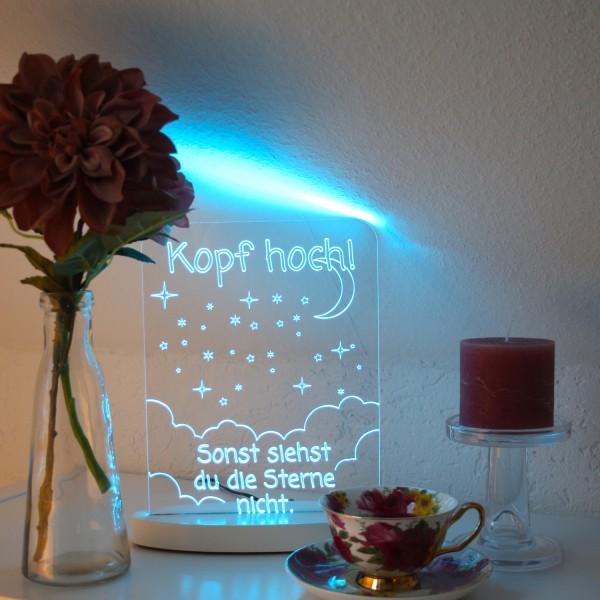 """LED-Lampe """"Kopf hoch"""" inkl. Sockel"""